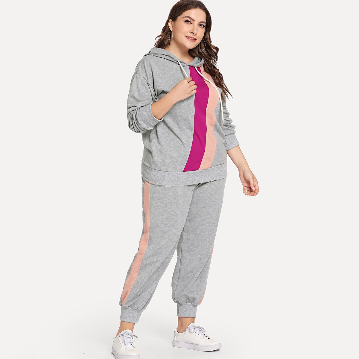Plus Cut And Sew Drawstring Hoodie With Pants - Shein - GOOFASH