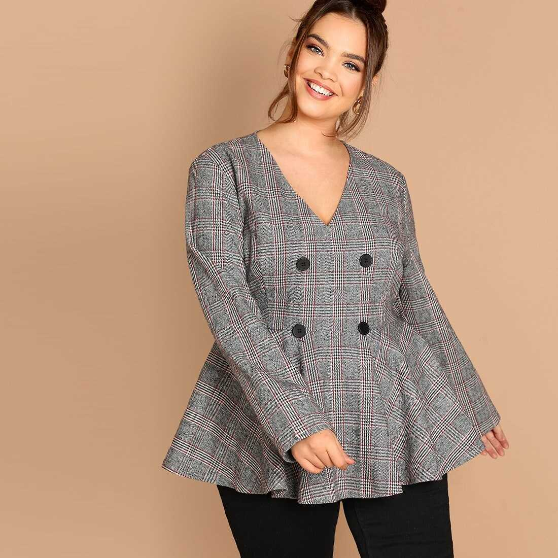 Plus Double Breasted Plaid Pullover Peplum Coat - Shein - GOOFASH