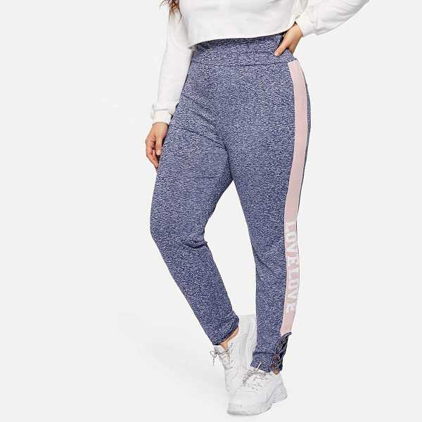 Plus Letter Print Side Crisscross Hem Marled Knit Leggings - Shein - GOOFASH