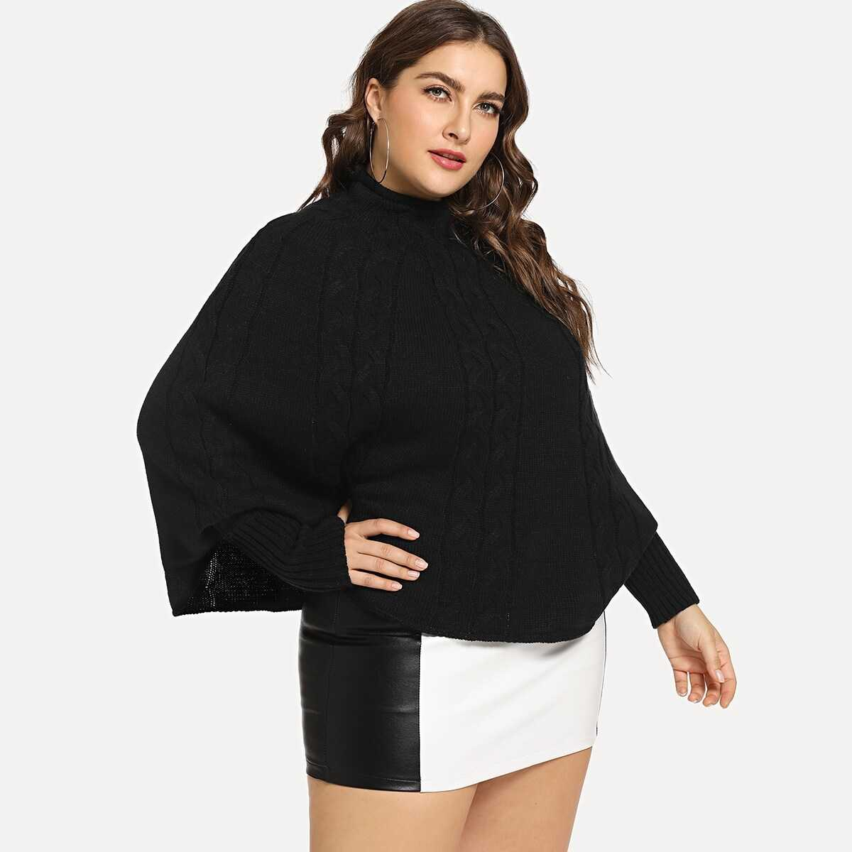 Plus Mock-neck Cable Knit Batwing Jumper - Shein - GOOFASH