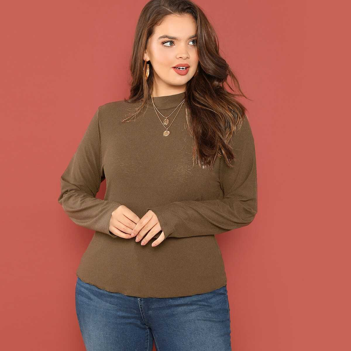 Plus Mock-neck Ribbed Knit Solid Tee - Shein - GOOFASH