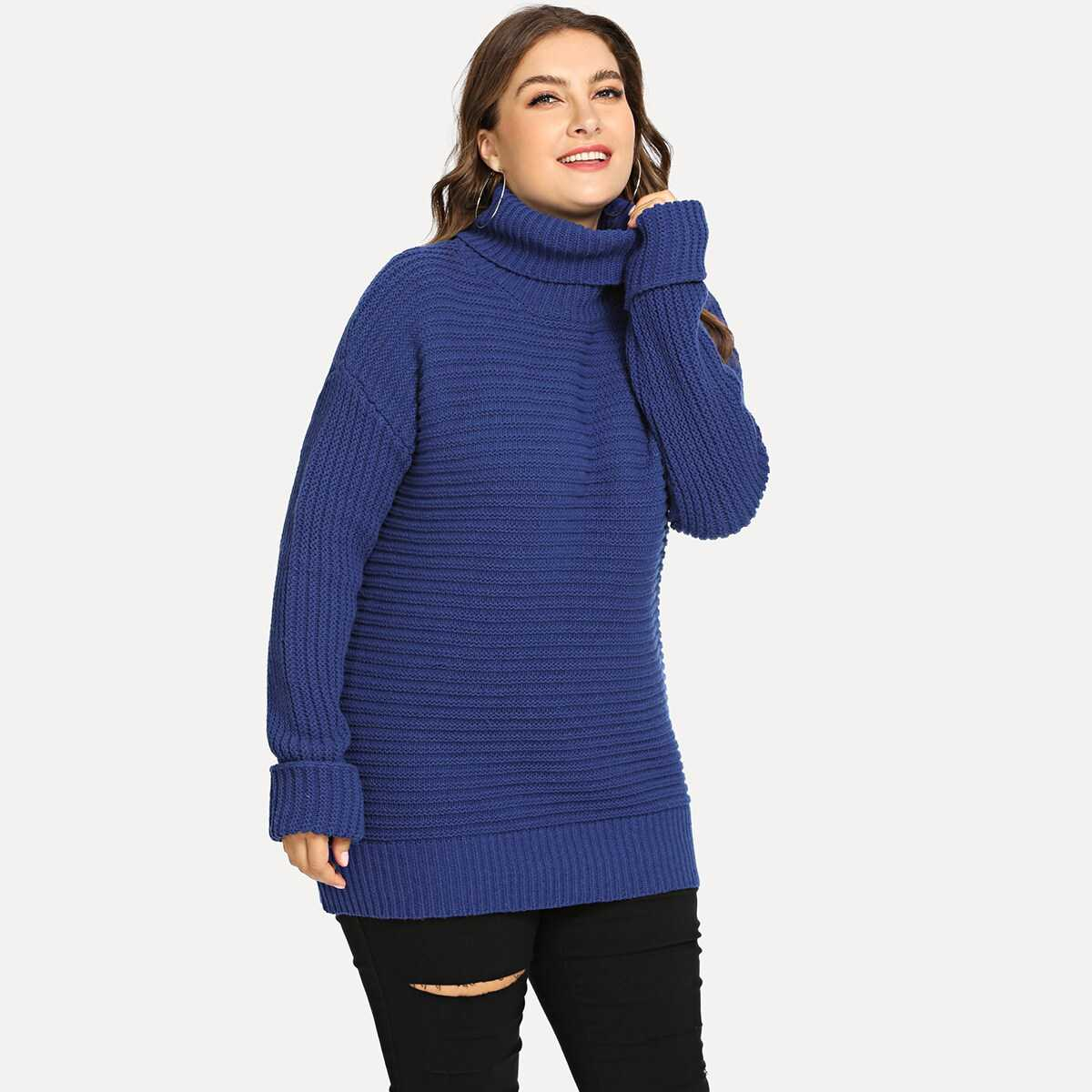Plus Rolled Neck And Sleeve Solid Sweater - Shein - GOOFASH