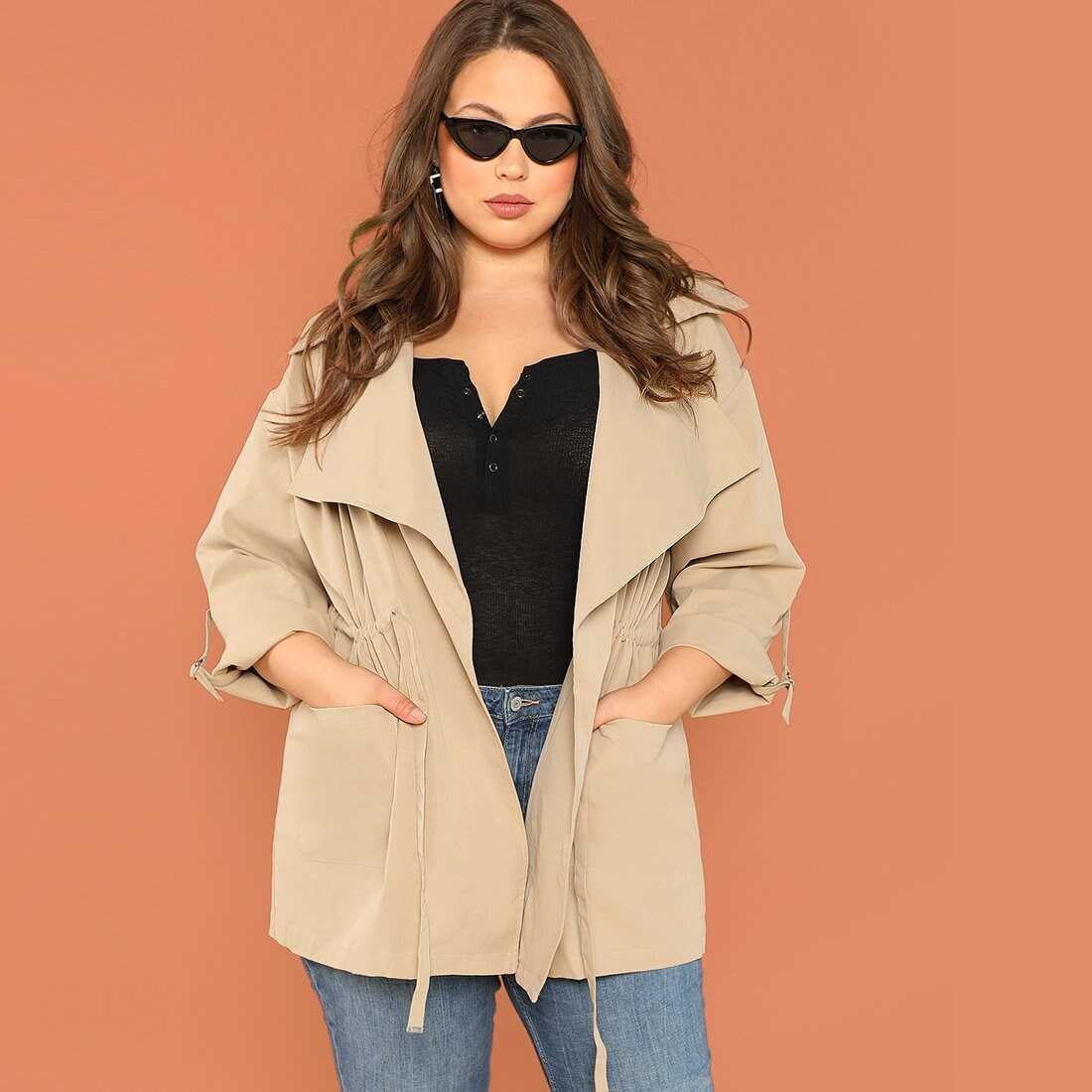 Plus Rolled Tab Sleeve Pocket Front Coat - Shein - GOOFASH