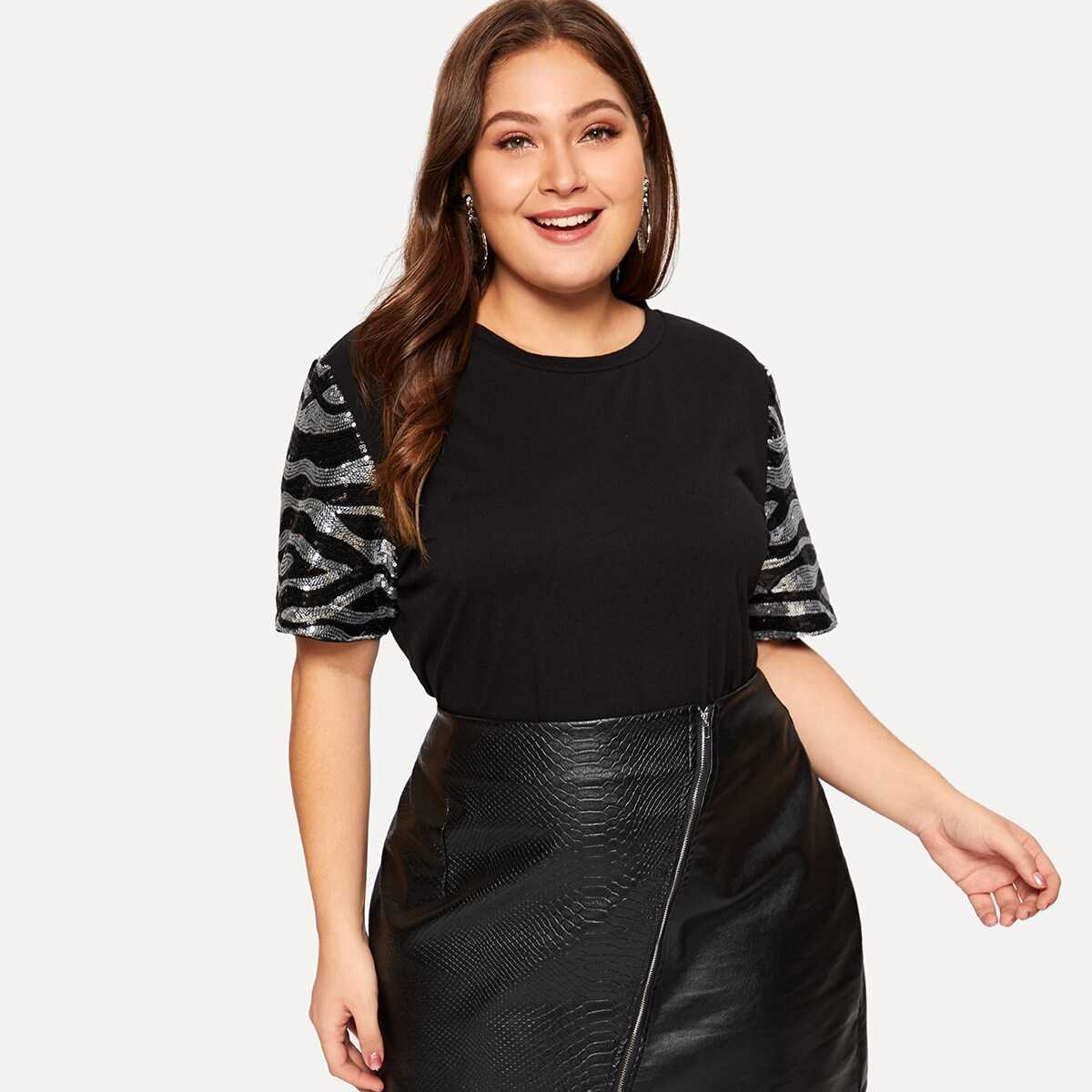 Plus Sequin Patched Sleeve T-shirt - Shein - GOOFASH