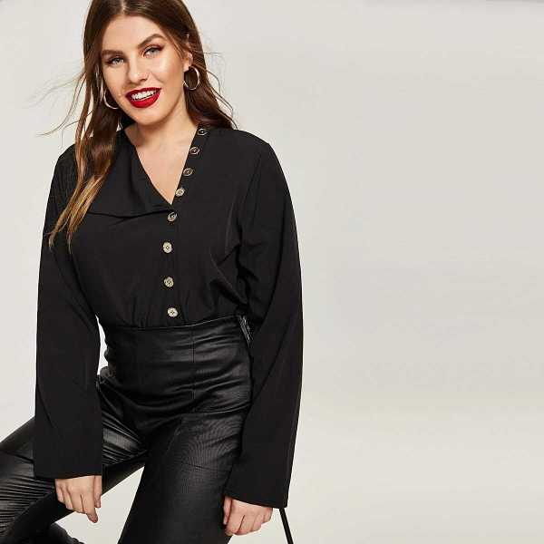 Plus Single Breasted Solid Blouse - Shein - GOOFASH