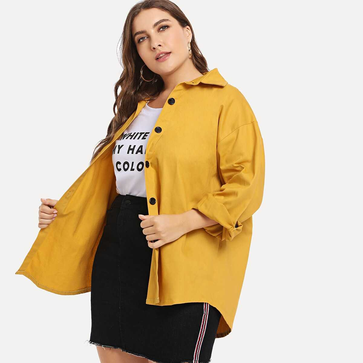 Plus Single-breasted Solid Coat - Shein - GOOFASH