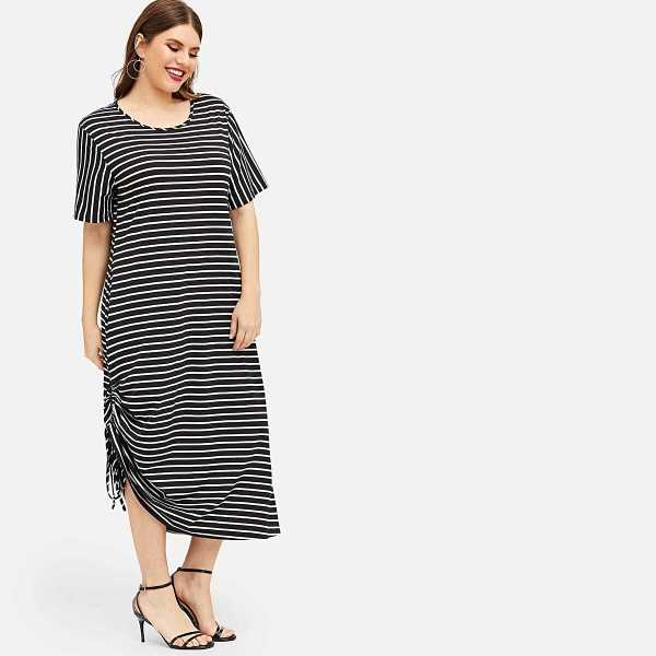 Plus Striped Drawstring Side Dress - Shein - GOOFASH