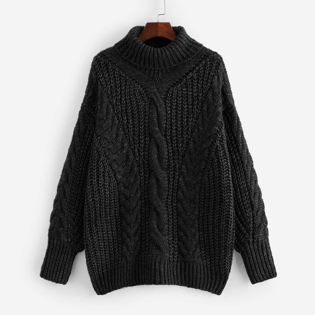 Plus Turtleneck Cable Knit Marled Sweater - Shein - GOOFASH