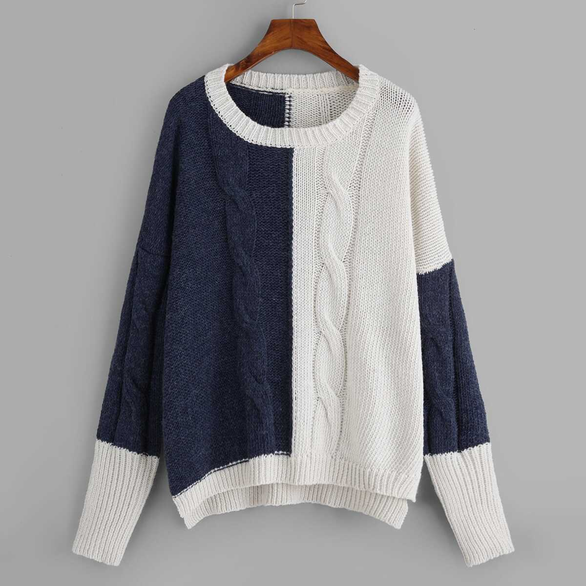 Plus Two-tone Cable Knit Jumper - Shein - GOOFASH