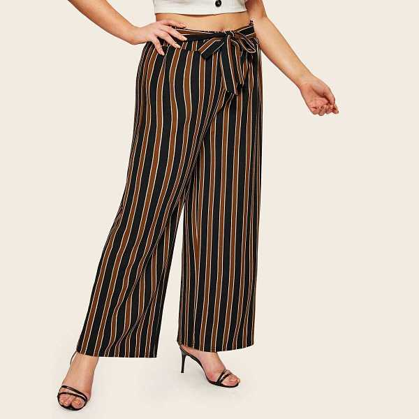 Plus Wide Leg Striped Knot Pants - Shein - GOOFASH