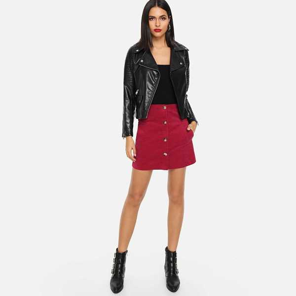 Pocket Patched Button Up Cord Skirt - Shein - GOOFASH