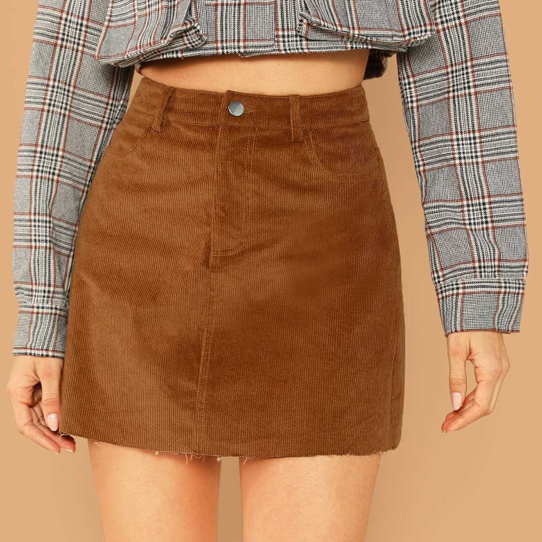 Pocket Patched Raw Hem Cord Skirt - Shein - GOOFASH