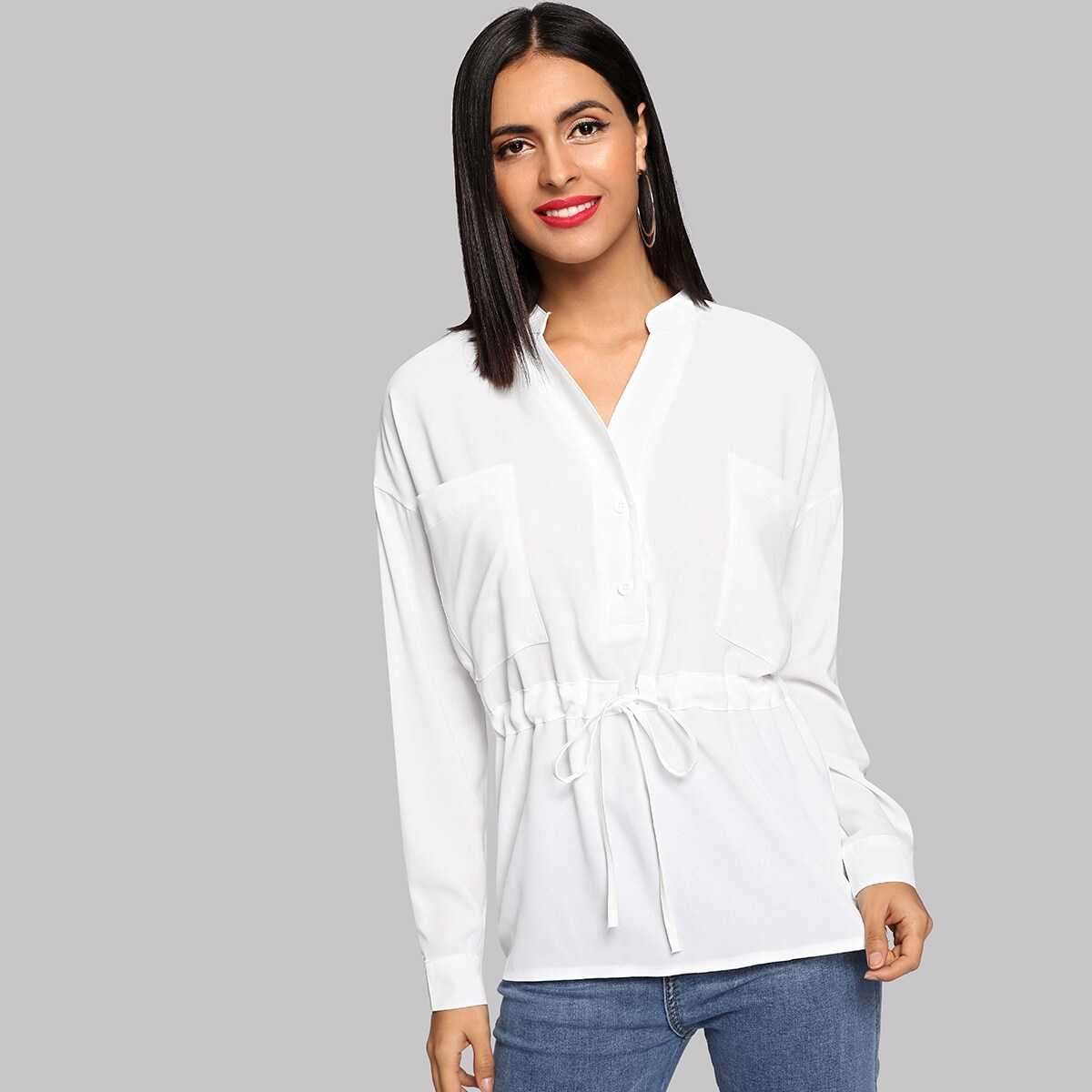 Pocket Patched Solid Shirt - Shein - GOOFASH