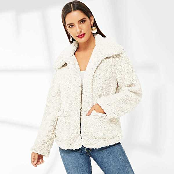 Pocket Patched Solid Teddy Coat - Shein - GOOFASH