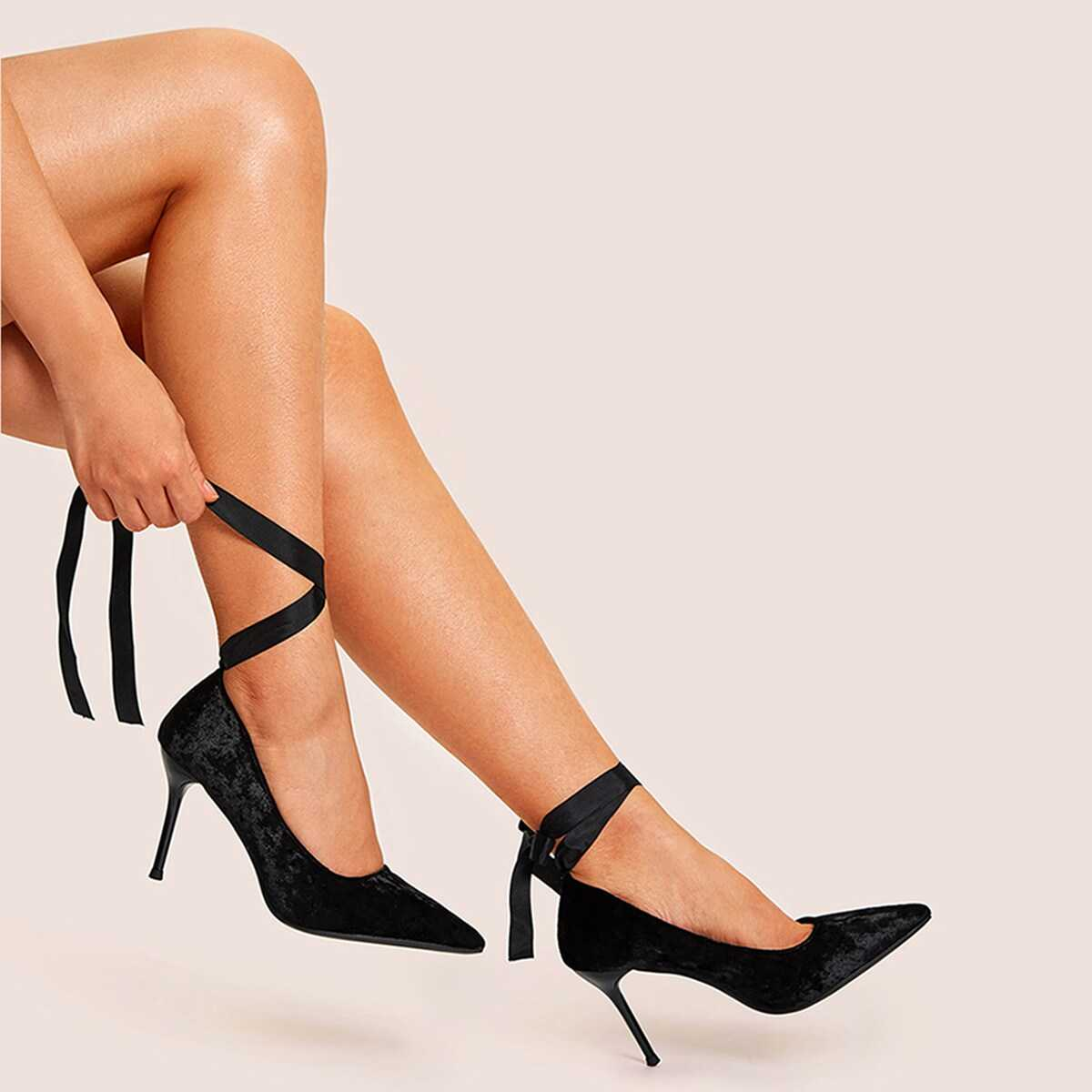 Pointed Toe Velvet Lace-up Heels - Shein - GOOFASH
