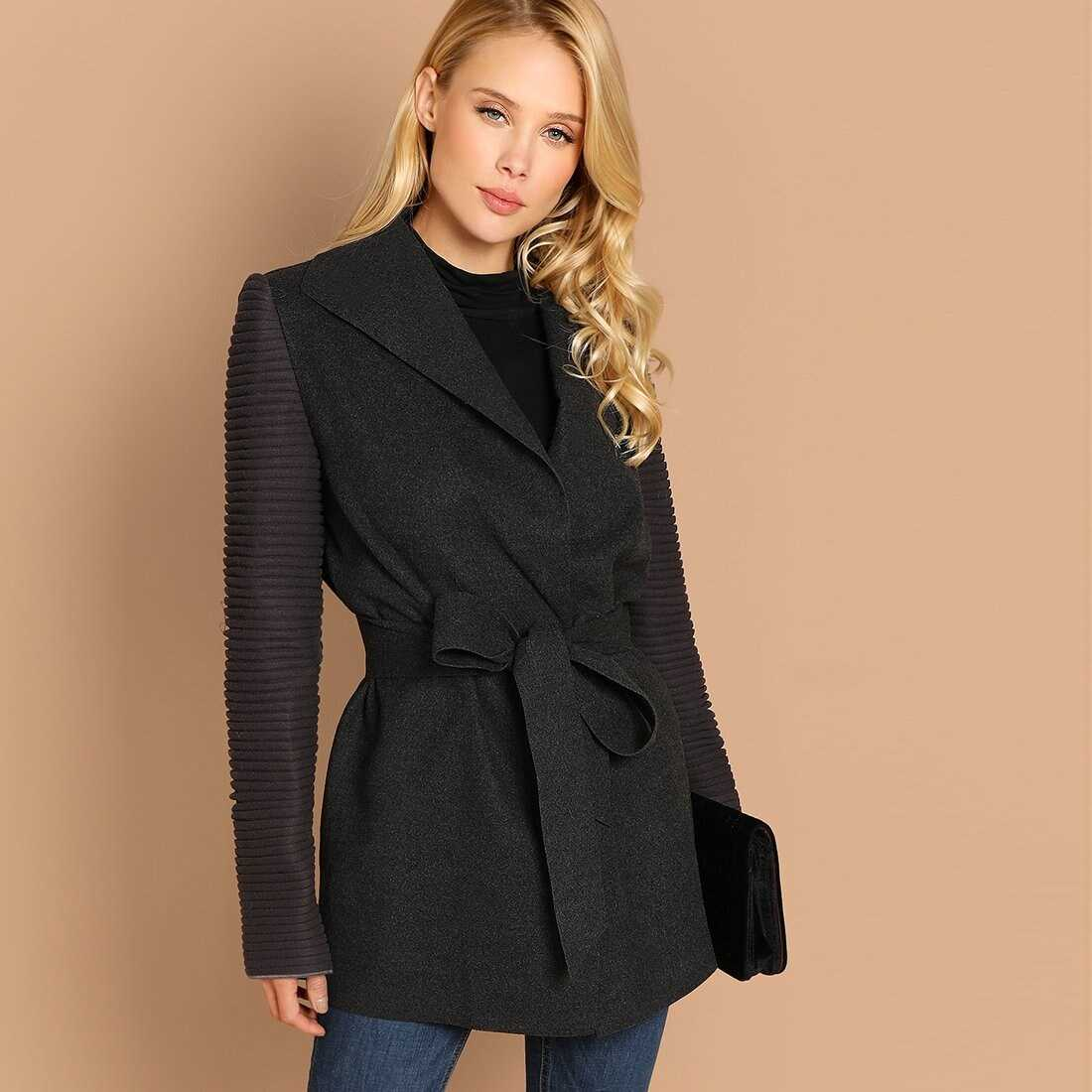 Quilted Sleeve Belted Coat - Shein - GOOFASH