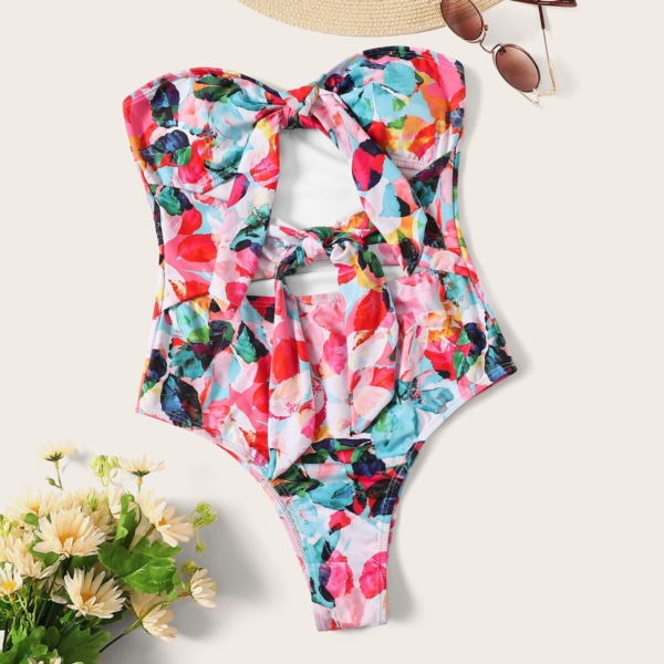 Random Watercolor Print Cut-out Knot Front One Piece Swim - Shein - GOOFASH