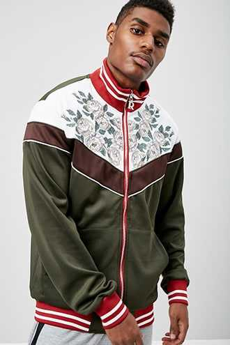 Reason Embroidered Colorblock Track Jacket at Forever 21  Olive/white - GOOFASH