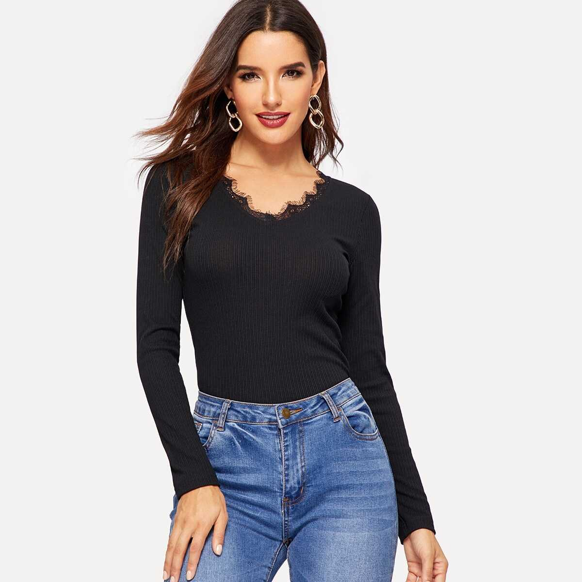 Rib-knit Lace Trim Fitted Top - Shein - GOOFASH