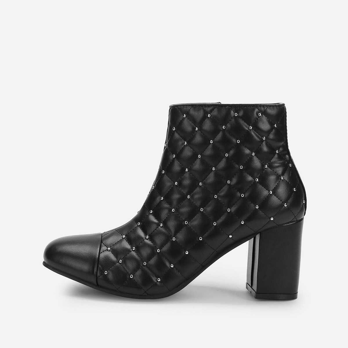 Rivet Detail Heeled Ankle Boots - Shein - GOOFASH