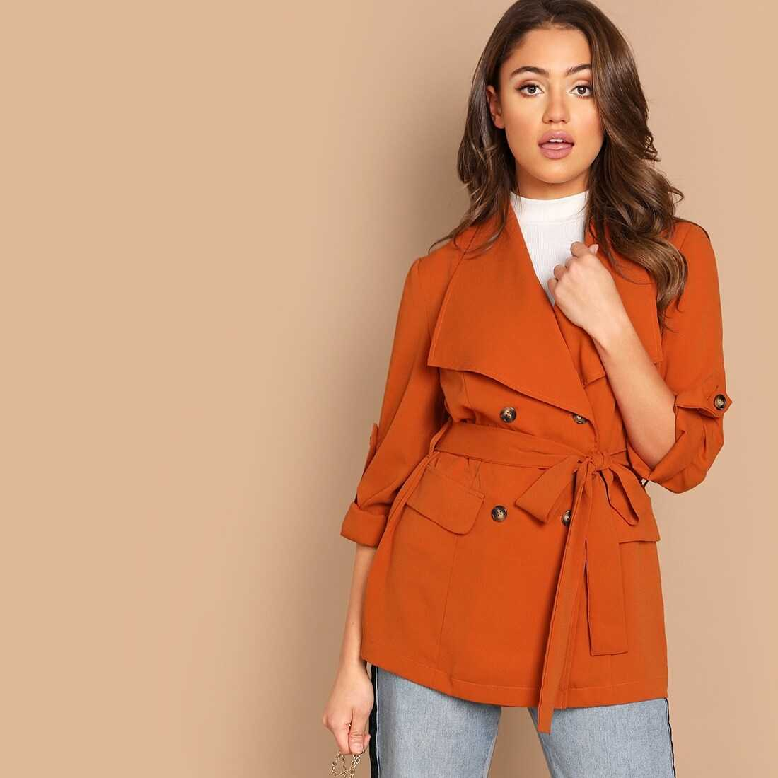 Roll Up Sleeve Double Breasted Coat With Belt - Shein - GOOFASH