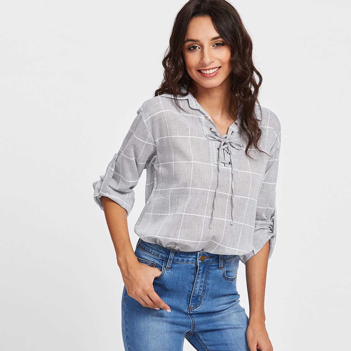 Rolled Sleeve Checked Eyelet Lace Up Blouse - Shein - GOOFASH