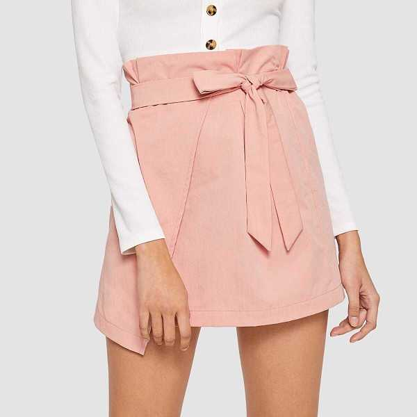 Ruffle Trim Self Belted Wrap Skirt - Shein - GOOFASH