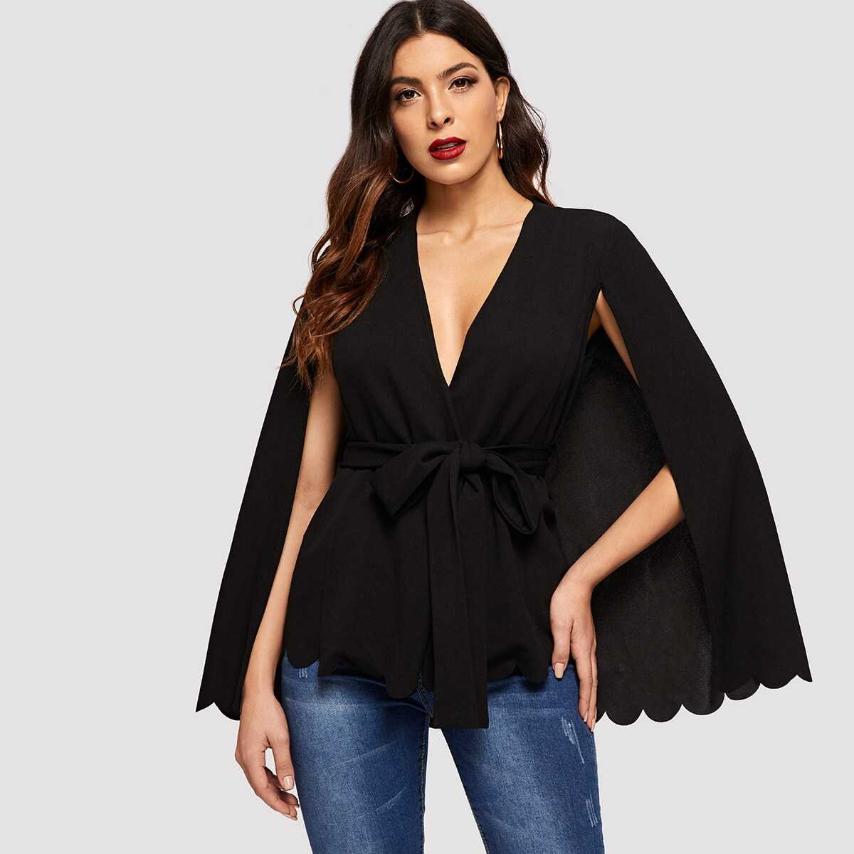 Scalloped Hem Solid Cape Blazer - Shein - GOOFASH