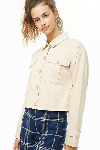 Semi-Cropped Button-Down Jacket at Forever 21  Taupe - GOOFASH