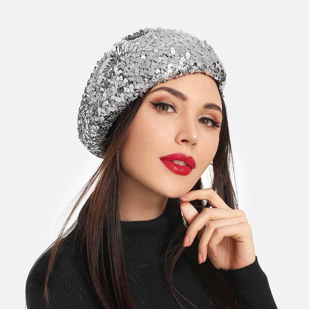 Sequin Decorated Beret Cap - Shein - GOOFASH