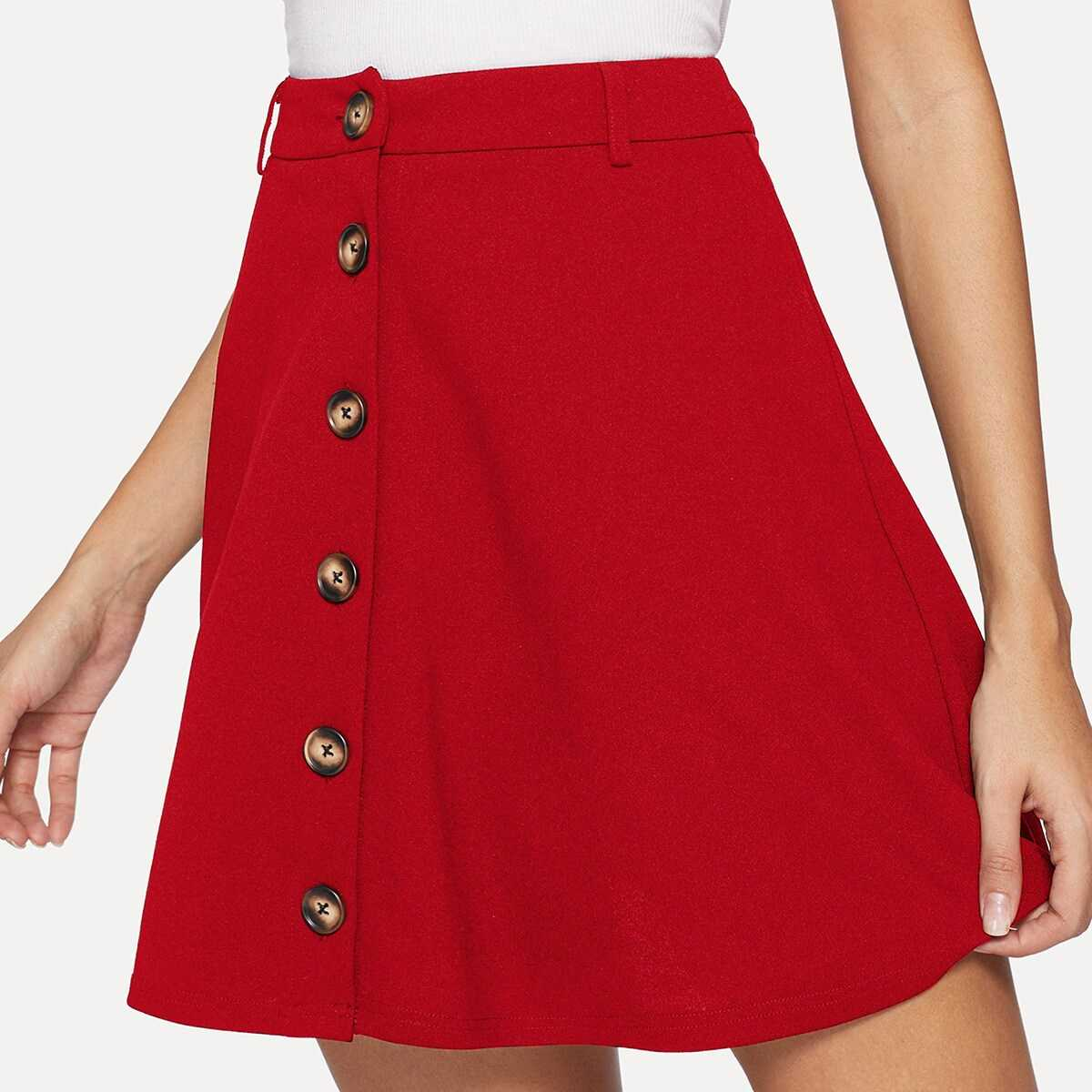 Single Breasted Solid Skirt - Shein - GOOFASH