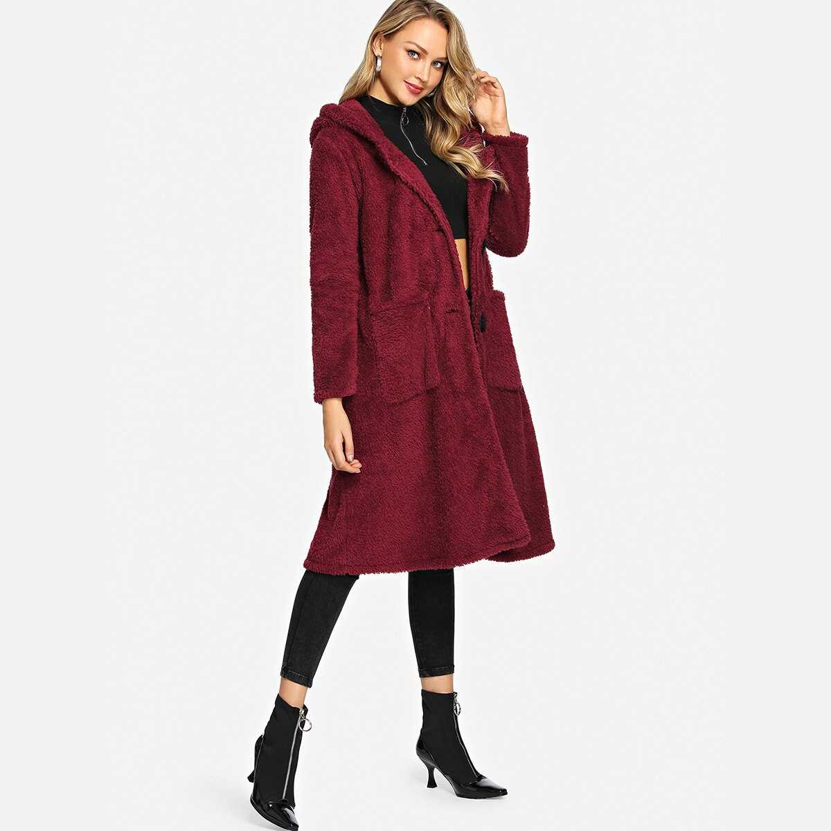 Single Breasted Teddy Hooded Long Coat - Shein - GOOFASH