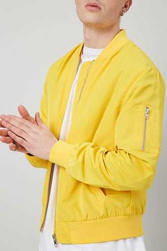 Solid Bomber Jacket at Forever 21  Yellow - GOOFASH