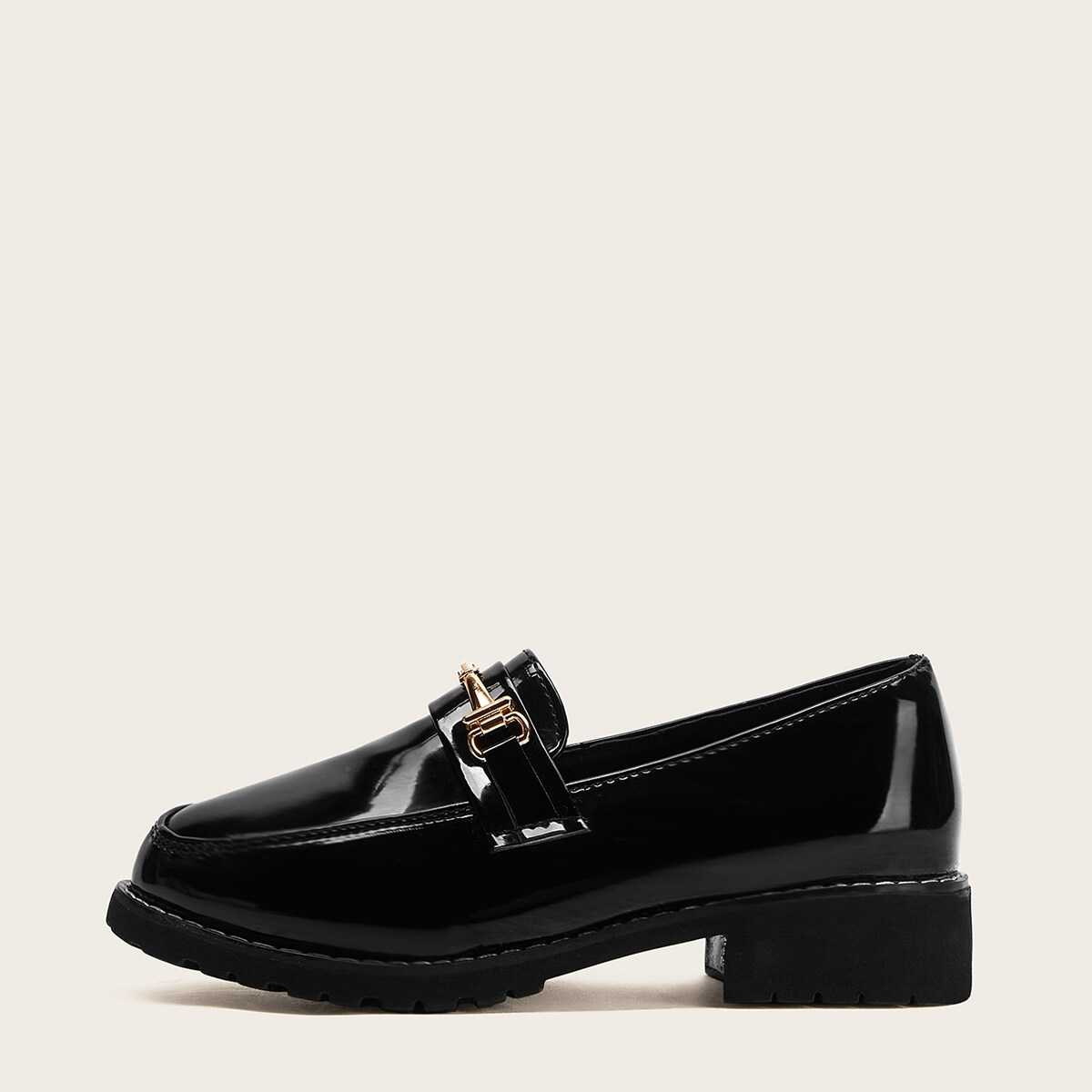 Solid Buckle Decor Loafers - Shein - GOOFASH