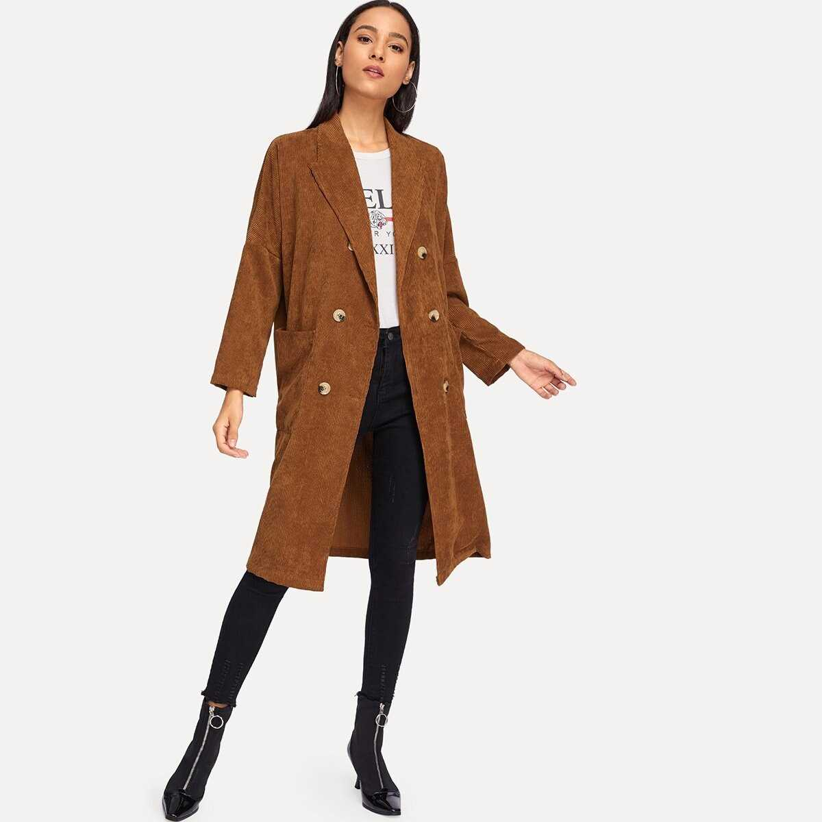 Solid Double Breasted Long Coat - Shein - GOOFASH