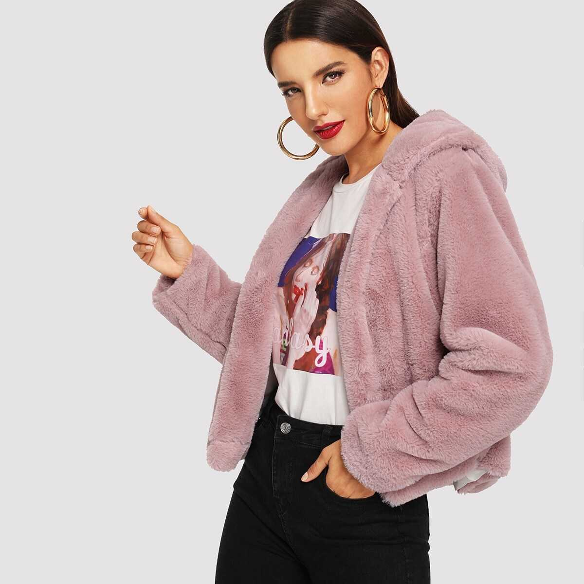 Solid Open Front Hooded Teddy Coat - Shein - GOOFASH