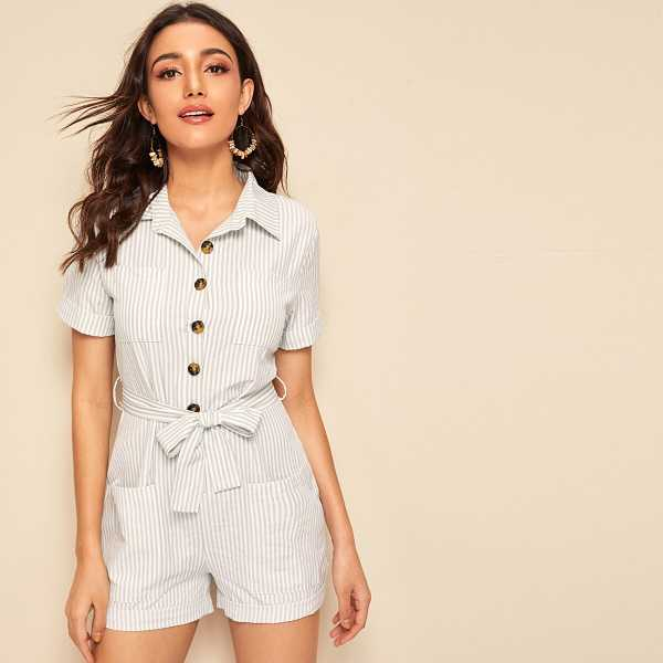 Striped Button Front Belted Playsuit - Shein - GOOFASH