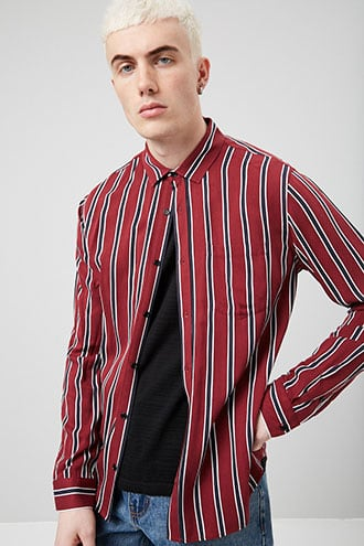 Striped Button-Front Shirt at Forever 21 Burgundy/navy - GOOFASH