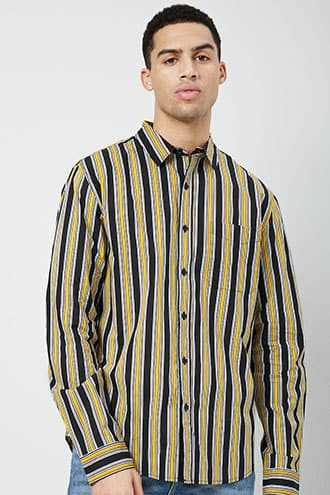 Striped Classic Fit Shirt at Forever 21  Black/yellow - GOOFASH