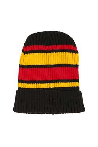 Striped Foldover Beanie at Forever 21 Black/yellow - GOOFASH