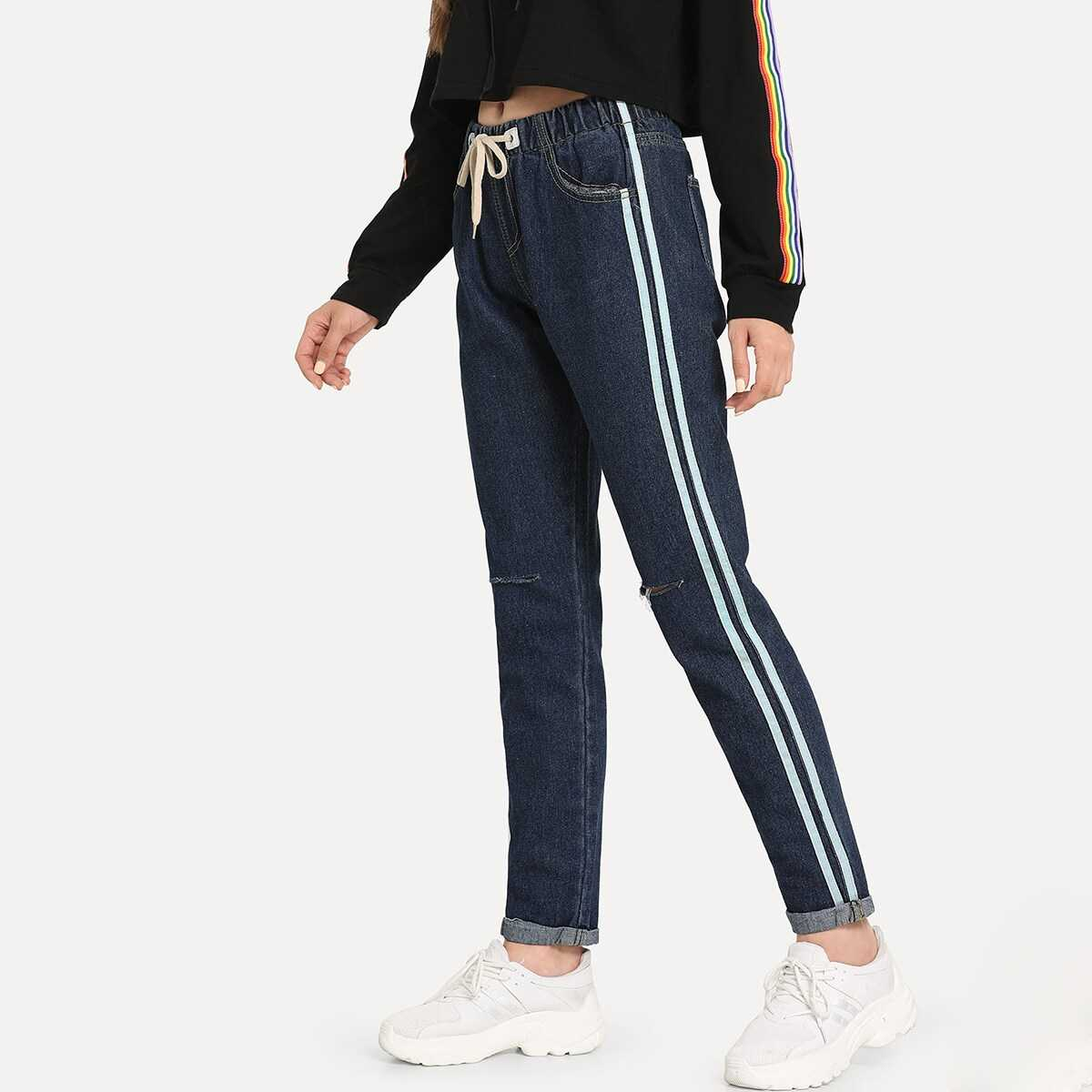 Striped Side Ripped Knot Front Jeans - Shein - GOOFASH