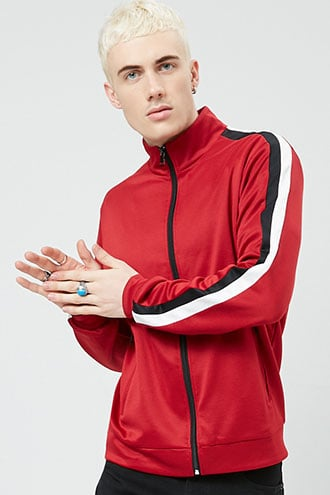 Striped-Sleeve Track Jacket at Forever 21  Red/black - GOOFASH