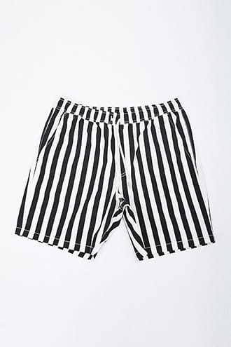 Striped Twill Drawstring Shorts at Forever 21  Black/white - GOOFASH