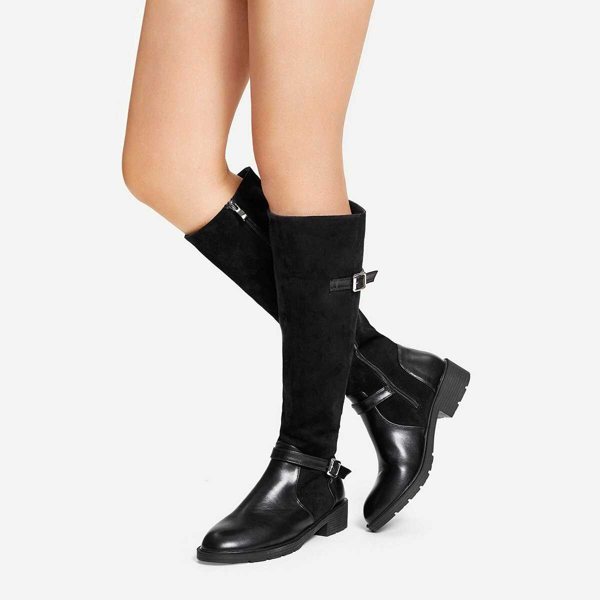 Suede Solid Buckle Side Boots - Shein - GOOFASH
