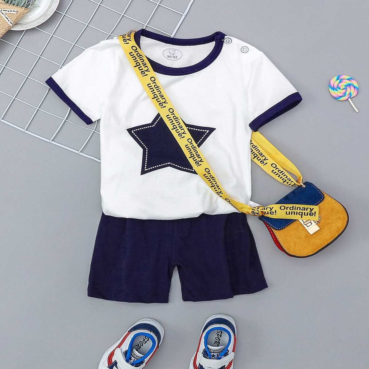 Toddler Boys Contrast Binding Patched Tee With Shorts Without Bag - Shein - GOOFASH