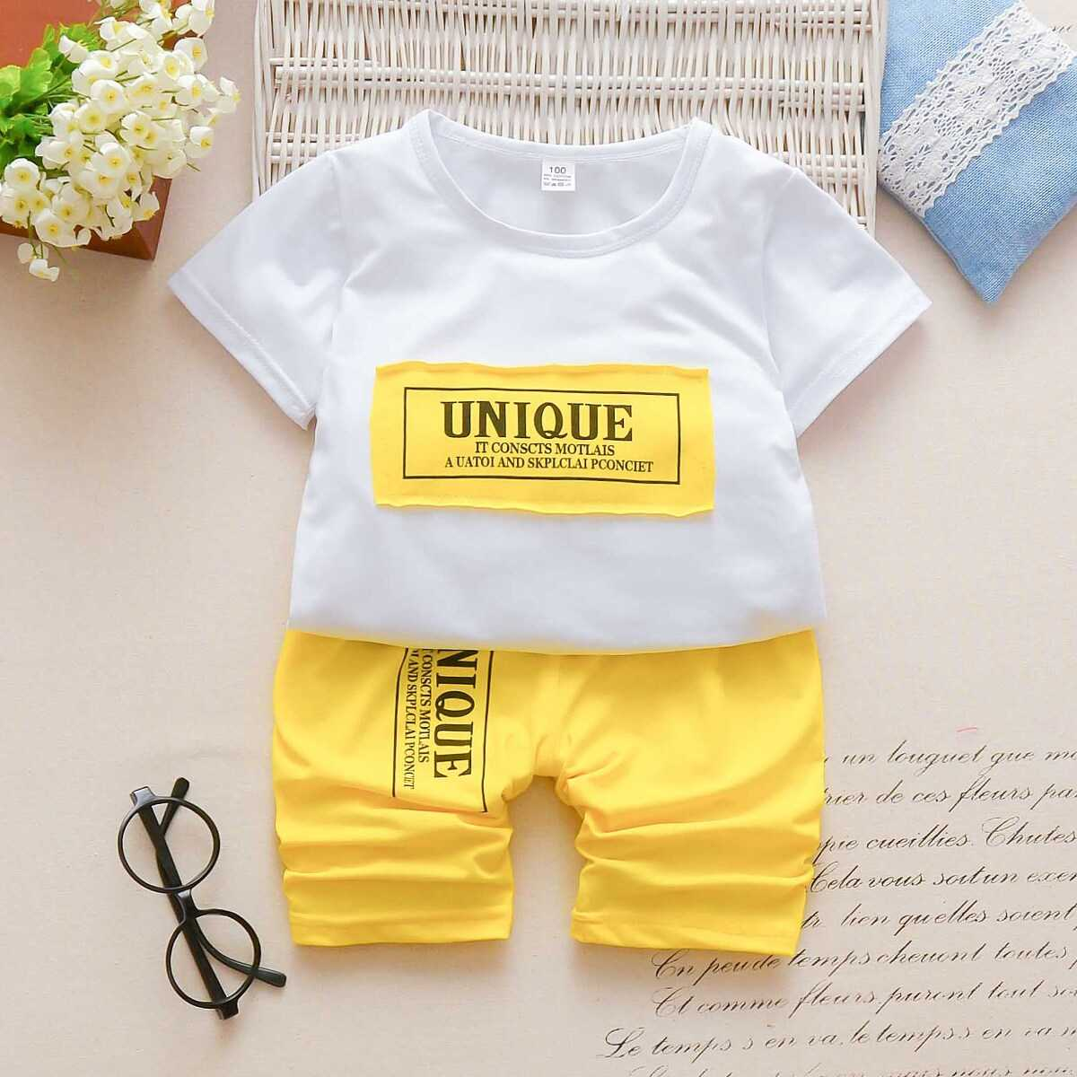 Toddler Boys Slogan Patched Tee With Shorts - Shein - GOOFASH