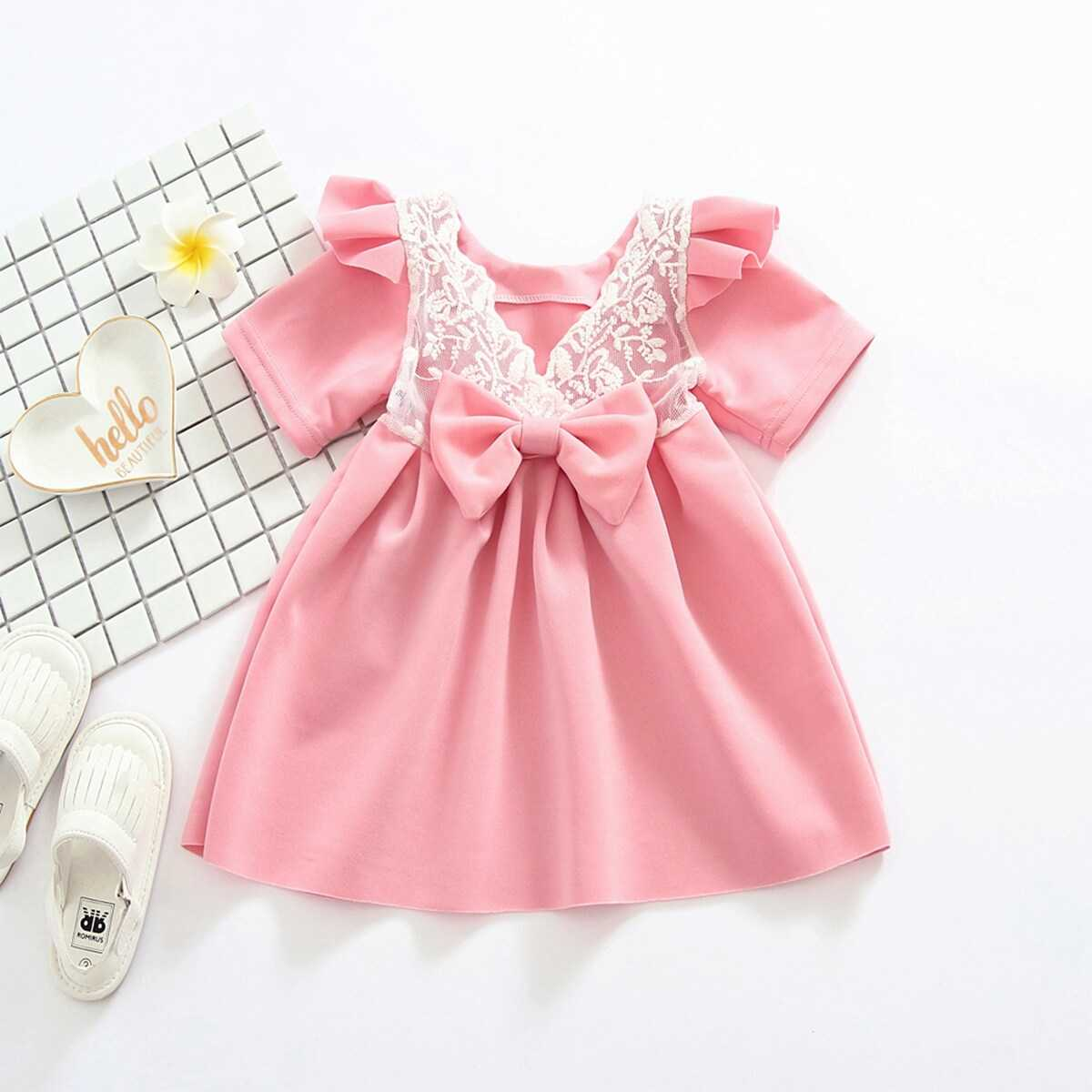 Toddler Girls Contrast Lace Bow A-line Dress - Shein - GOOFASH
