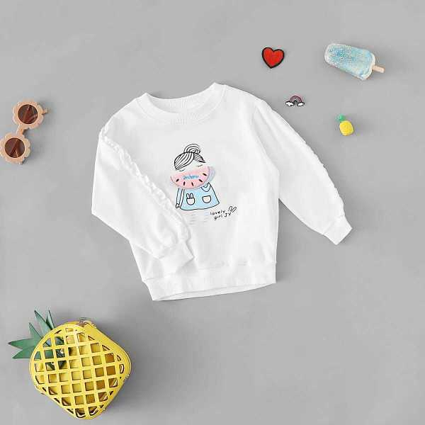 Toddler Girls Patched Detail Frill Trim Sweatshirt - Shein - GOOFASH