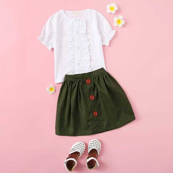 Toddler Girls Ruffle Trim Blouse With Skirt - Shein - GOOFASH