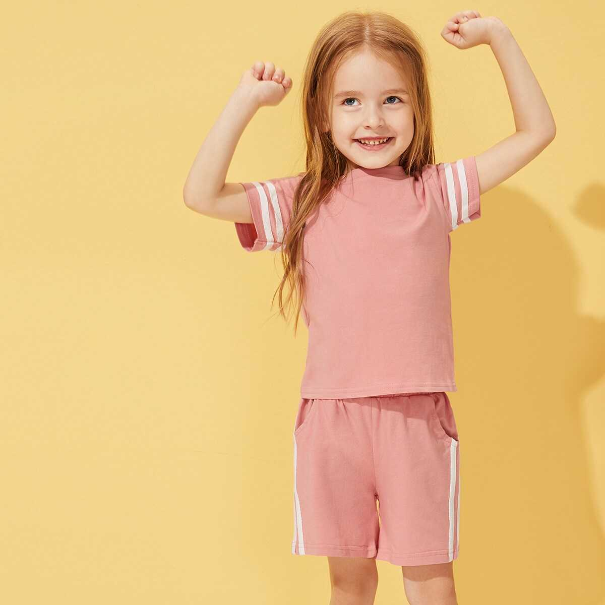 Toddler Girls Side Stripe Tape Tee With Track Shorts - Shein - GOOFASH